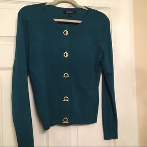Teal and Gold Toggle Cardigan